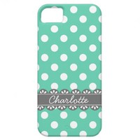 Fashionable Mint Polka Dots and Grey Lace iPhone 5/5S Case
