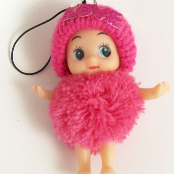 "Child Adorable Ornament Fuchsia Puff Ball Dress and Hat says Love  3"" x 2"""