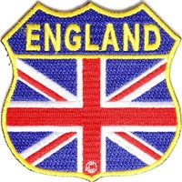 England Flag Shield Patch, 2.75x2.75 inch, small embroidered iron on patch