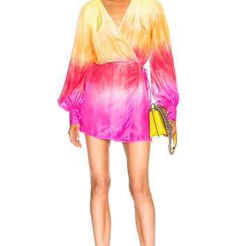 ATTICO Short Robe Dress in Pink & Yellow Ombre | FWRD