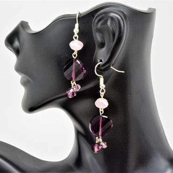 Beaded Earrings, Purple Drop and Dangle Earrings, Swarovski Earrings