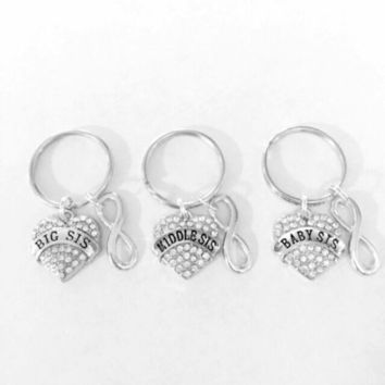 Sisters Big Sis Middle Sis Baby Sis Little Sister Infinity Gift Keychain Set