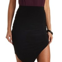 Ruched Asymmetrical Skirt by Charlotte Russe - Black