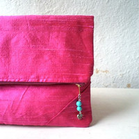 Clutch, handbag,  fold over clutch,,minimalist desing,silk shantung in hot pink color, turquoise stone pendant, Ready To Ship.