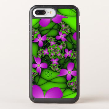 Modern Neon Pink Green Fractal Flowers Monogram Speck iPhone Case