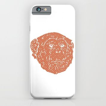 MONKEY SILHOUETTE HEAD WITH PATTERN iPhone & iPod Case by deificus Art
