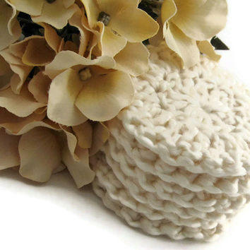 Facial Rounds Organic Cotton Creamy White, Crocheted Face Scrubby, Reusable, Washable Scrubbies, Eco Dyed, Gift Set Under 20 For Her