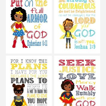 African American Christian Superhero Nursery Decor Wall Art Set of 4 Prints - Wonder Woman Supergirl Batgirl and Bumble-Bee