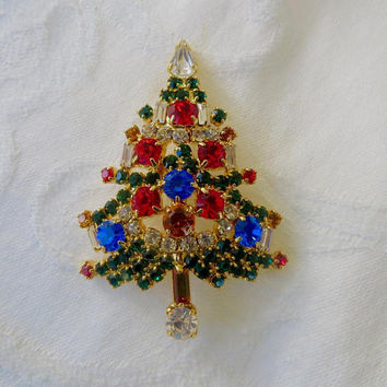 Christmas Tree Pin, Signed OTC, Vintage Christmas Brooch,  Vintage Christmas Holiday Jewelry