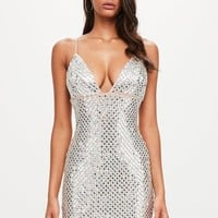 Missguided - Peace + Love Silver Mirror Embellished Mini Dress
