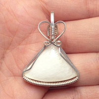 White Scolecite Gemstone Wire Wrapped Pendant Sterling Silver Necklace