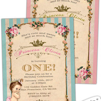 Baby Shower invitation Girl Birthday invitations Royal Baby Princess First Birthday Vintage roses custom digital Made in The United States.