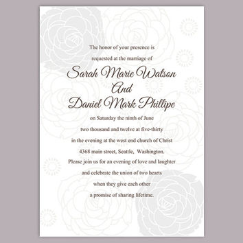 DIY Wedding Invitation Template Editable Word File Instant Download Printable Silver Invitation Rose Invitation Gray Wedding Invitation
