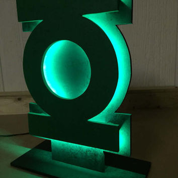 DC Comics Green Lantern Justice League Comicbook Superhero Logo Tabletop Nightlight