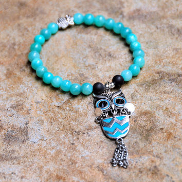6mm Aqua Quartzite Beads with Owl Charm and Black Glass Side Beads - Kid's / Girl's / Women's Custom Fit Bracelet