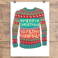 Merry Christmas Ya Filthy Animal - Christmas Jumper Greeting Card