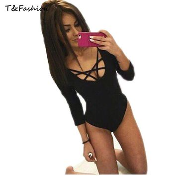 Tofashion Women sexy jumpsuits O-neck Rompers 3/4 sleeve bodysuit casual sexy playsuit Bodysuit Clubwear