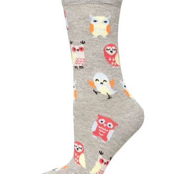 Grey Cute Owl Socks - Dorothy Perkins