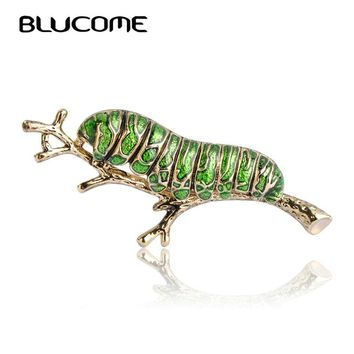 Blucome Vivid Green Caterpillar Chrysalis Brooches For Women Men Kids Clothes Accessories Enamel Gold-color Insects Corsage Pins