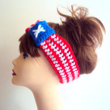 American Flag Knit Head Band Cowl 4th July Celebration Patriotic Headband Festival Headband Turban Headband Yoga Fitness Beach Bandana