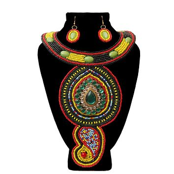 Multi Color Bead with Emerald Crystal Center Bib Necklace Set