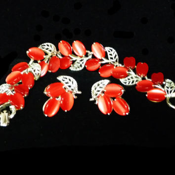 Lucite Red Bracelet & Earrings - Designer Signed Lisner - Red and Silvertone Leaves - Mid Century Modern Vintage Jewelry