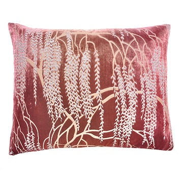 Desert Rose Metallic Willow Velvet Pillow - Rectangular by Kevin O'Brien (Velvet Pillow) | Artful Home