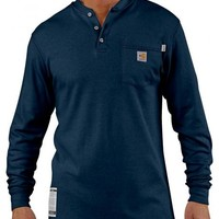 Carhartt Flame Resistant Long Sleeve Navy Henley Work Shirt - Big & Tall - Sheplers
