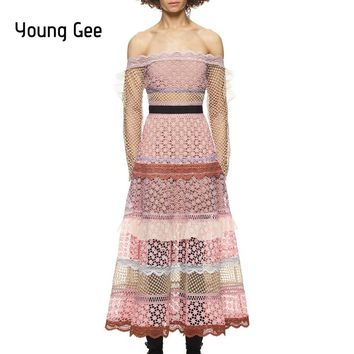 Young Gee 2018 Spring Runway Dress Women's Vintage Long Sleeve Slash Neck Off Shoulder Sexy Lace Party Dresses Vestidos Mujer