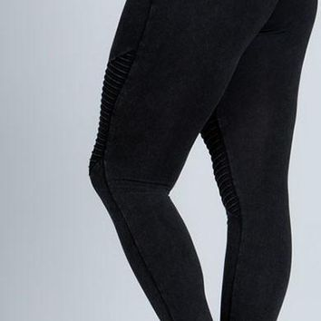 Black stone washed moto leggings
