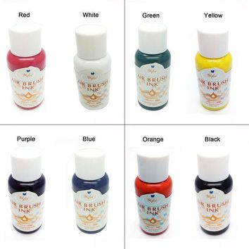 ac DCCKO2Q 8 Colors Ink For Airbrush Nail Art Basic Color Pigment sets Air brush Nail Accessories Nail Pigments for Nail Stencils Painting