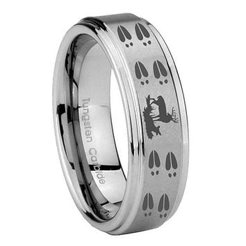 10MM Step Edges Deer Hunting Tracks Tungsten Carbide Silver Men's Ring