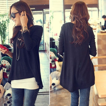 2014 New Valentine's Day Korean Cotton Tops Batwing Mini Dress Long Sleeve Women Clothes SV000992 One Size (Color: Black)
