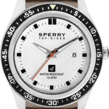 Sperry Top-Sider Navigator Watch StainlessSteel/BrownLeather, Size One Size  Men's