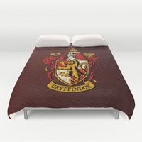 Harry potter Gryffindor team shield iPhone 4 4s 5 5c, ipod, ipad, pillow case, tshirt and mugs Duvet Cover by Three Second