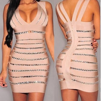 sexy bandage midi dresses women summer bodycon backless new fashion club v-neck elegant party evening slim dress = 1946117508