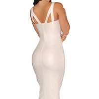 White Strappy Faux Leather Bodycon Mid Dress with Mesh Accent