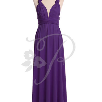 Bridesmaid Dress Infinity Dress Royal Purple Floor Length Wrap Convertible Dress Wedding Dress