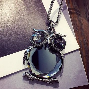 Womens Necklaces Jewelry Trendy Charms Crystal Owl Necklace black Long Chain Animal Necklaces & Pendants