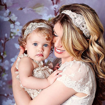 2016 New Mom and Me Headband Vintage Inspired Couture Stunning Luxury Rhinestone Headband Elastic Baby Girl Headband set 2pc