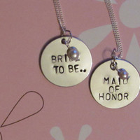 WEDDING - Bride to Be - Hand Stamped Necklace Set - Bachelorette gifts - Bridal Shower
