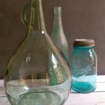 Italian Demijohn, Vintage Green Glass Wine Jug, Large Italian Wine Demijohn with handle