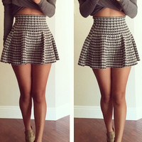 Houndstooth Flare Skirt - Black/White