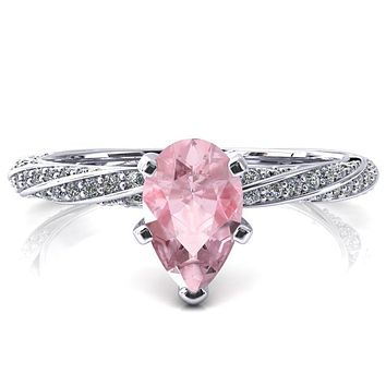 Elysia Pear Pink Sapphire 5 Prong 3/4 Eternity Diamond Accent Ring