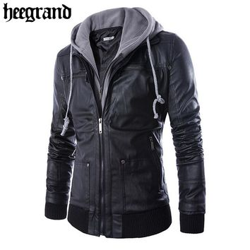HEE GRAND Solid Hooded Slim PU Leather Jacket
