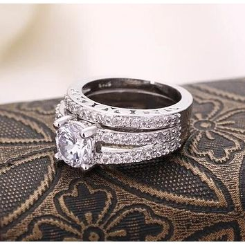 Hot Elegant Women Engagement Wedding Princess Rings