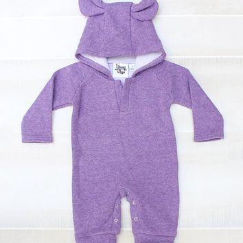 Young and Free Apparel Purple Bear Ear Hooded Playsuit - Infant & Toddler