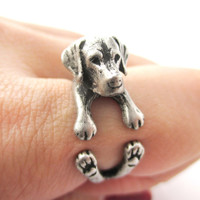 Realistic Labrador Retriever Shaped Animal Wrap Ring in Silver | Sizes 4 to 8.5