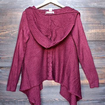 open front knit cardigan with hood in burgundy