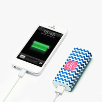 True Blue Chevron Monogram Portable Power Bank Battery Charger for iPhone and Samsung